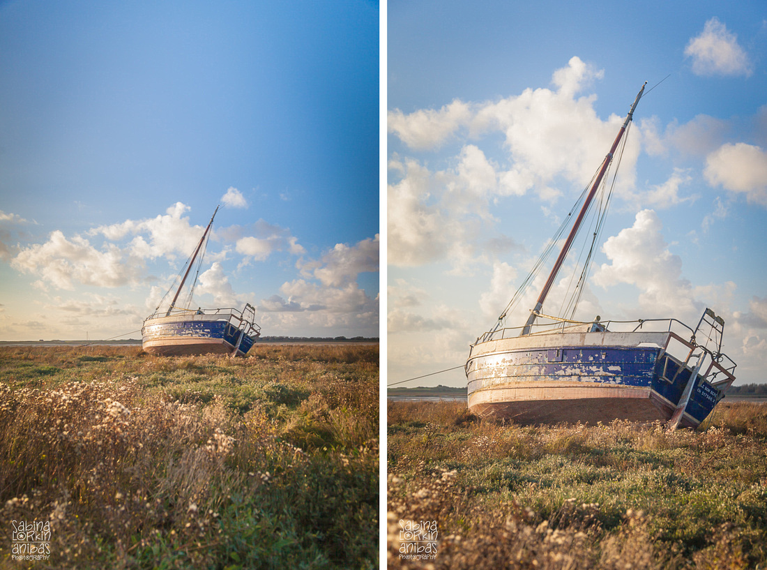 Landscape Photographer Normandy // Regnéville-sur-Mer and its boats at low tide in Autumn - Manche Sabina Lorkin