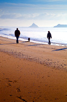 Family walk along the beach with the Mont-St Michel in the Distance-1357
