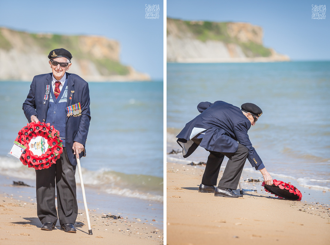 Discover a moving moment during Gunner A. W. Glover's return to Arromanches beach - D-Day Anniversary - Poppy wreath laying in the water