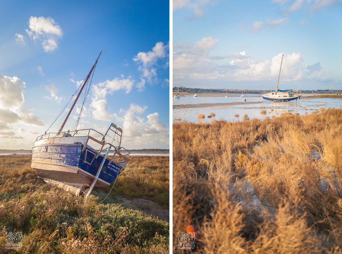 Landscape Photographer Normandy // Discover the beautiful views of the boats at low tide on a sunny autumn afternoon at Regnéville-sur-Mer Manche Normandy